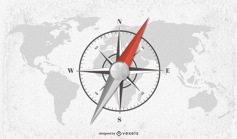 Compass world map illustration design