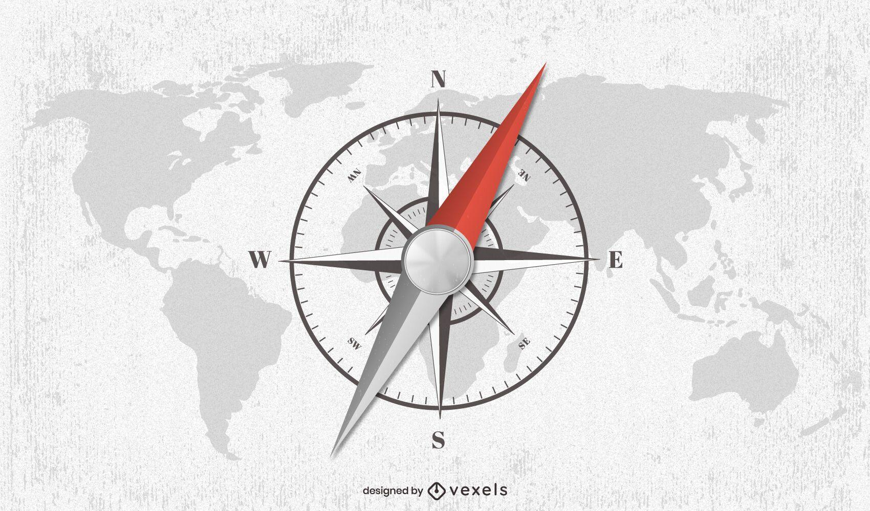 Desenho de ilustração do mapa mundial da bússola