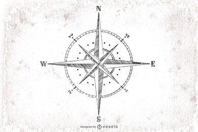 Hand drawn compass illustration