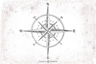 Hand gezeichnete Kompassillustration