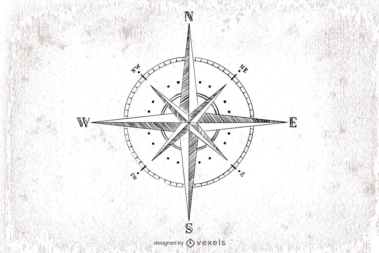 Ilustración de brújula dibujada a mano
