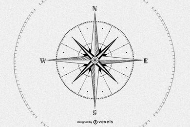 Hand drawn compass illustration design