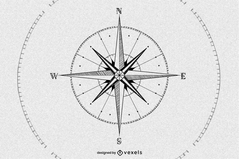 Hand drawn compass illustration design
