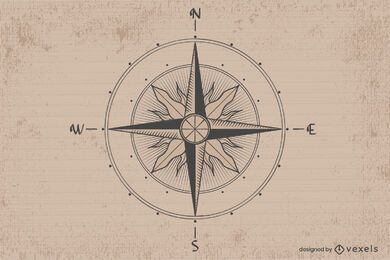 Vintage compass illustration design