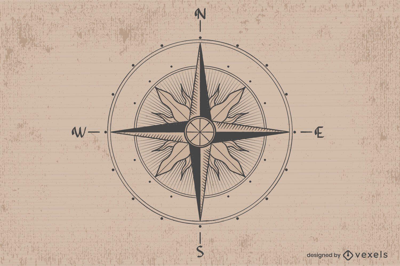 Vintage compass illustration design