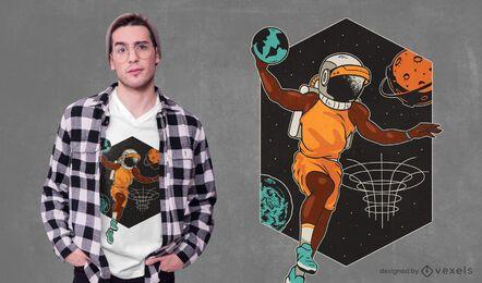 Design de camiseta para jogador de basquete espacial
