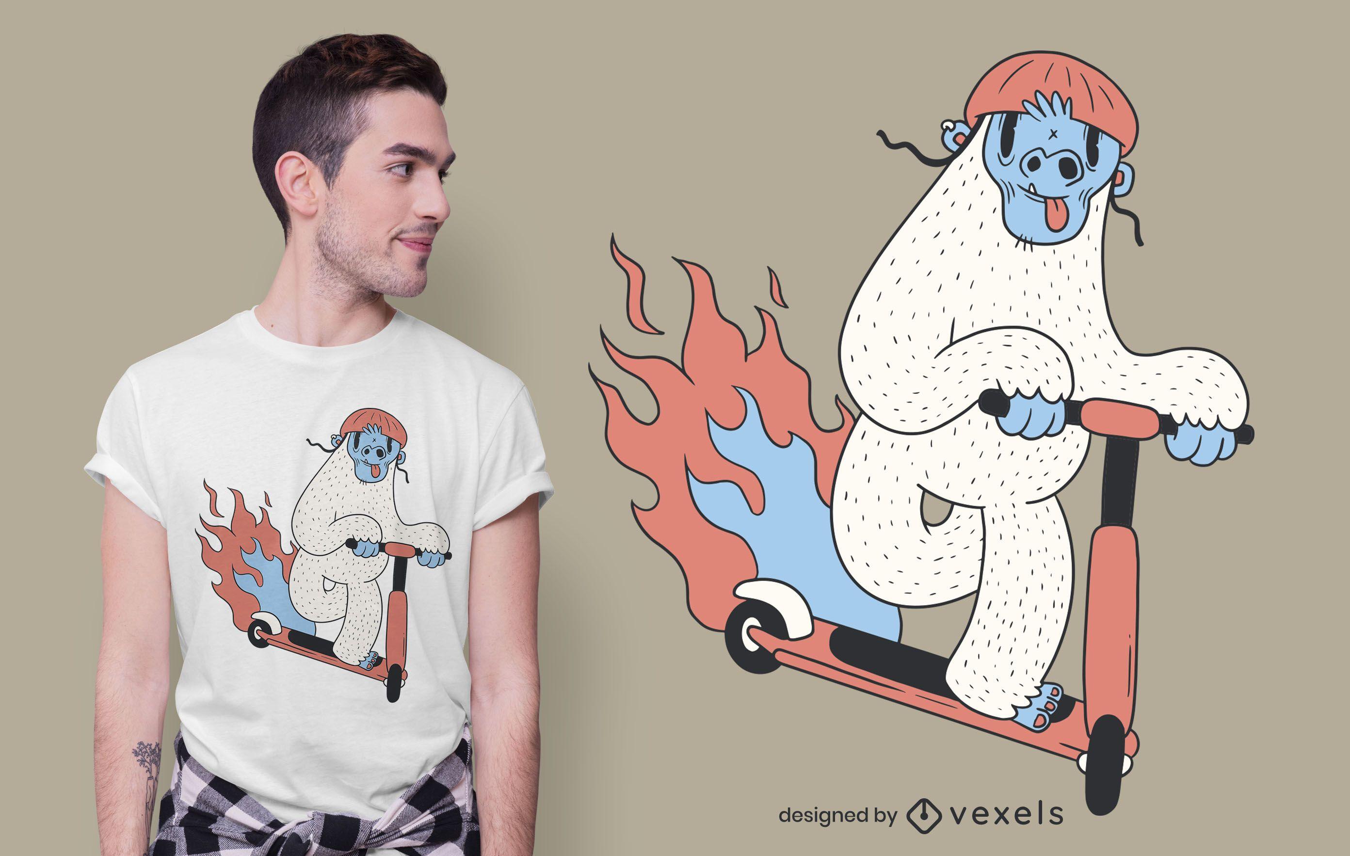 Diseño de camiseta Yeti riding scooter