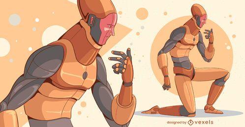 Desenho de personagem de robô ajoelhado