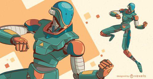 Desenho de personagens de robôs de luta