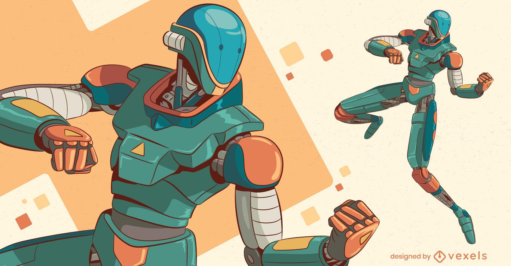 Fighting robot character design