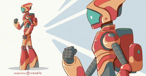 Desenho de personagem do robô lateral