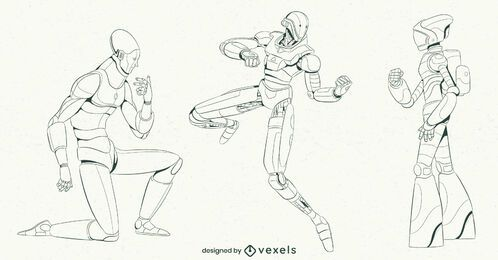 Conjunto de caracteres de traçado de robô