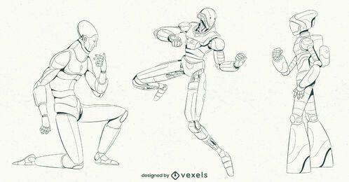 Conjunto de caracteres de trazo de robot
