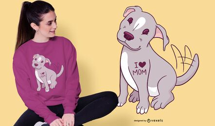 Design de t-shirt de cachorro pitbull fofo
