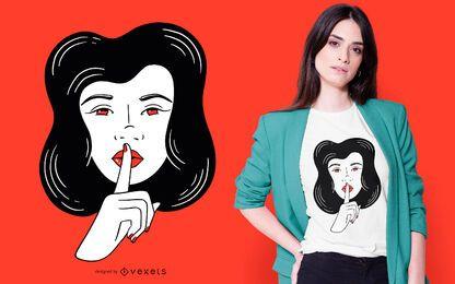 Diseño de camiseta Woman Silence