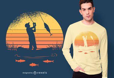Diseño de camiseta pescador atardecer