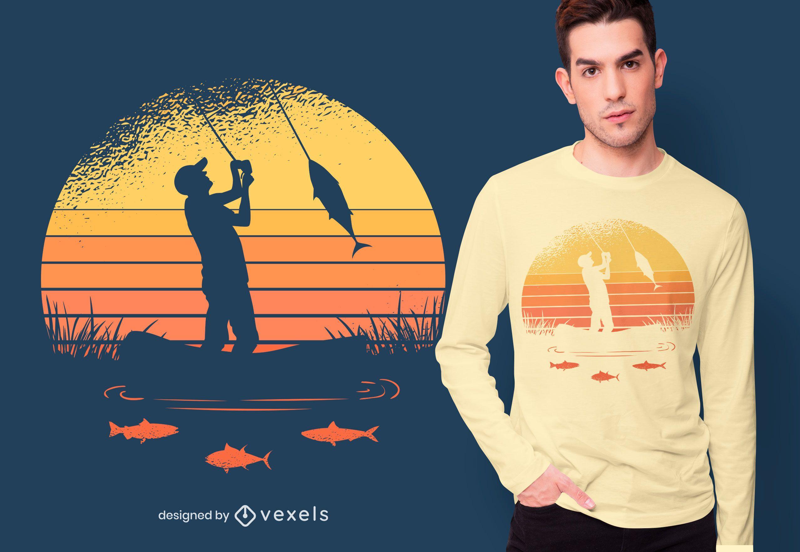 Fisherman sunset t-shirt design