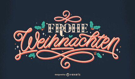 Deutsches Schriftzugdesign der frohen Weihnachten