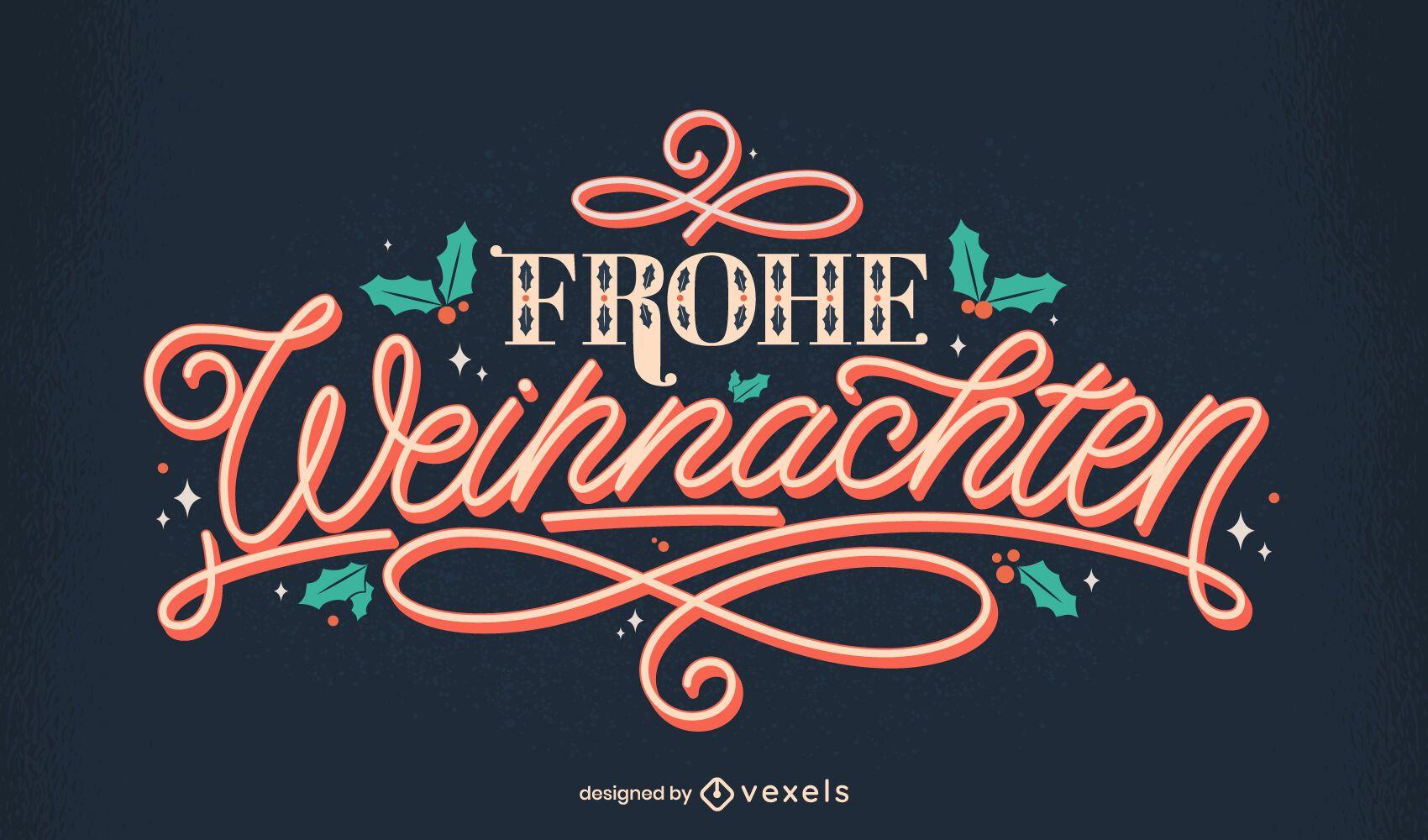 Feliz navidad dise?o de letras alemanas