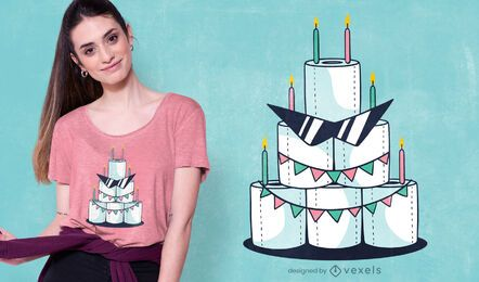 Design de t-shirt de bolo de aniversário de papel higiénico