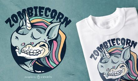 Zombiecorn Cartoon T-shirt Design