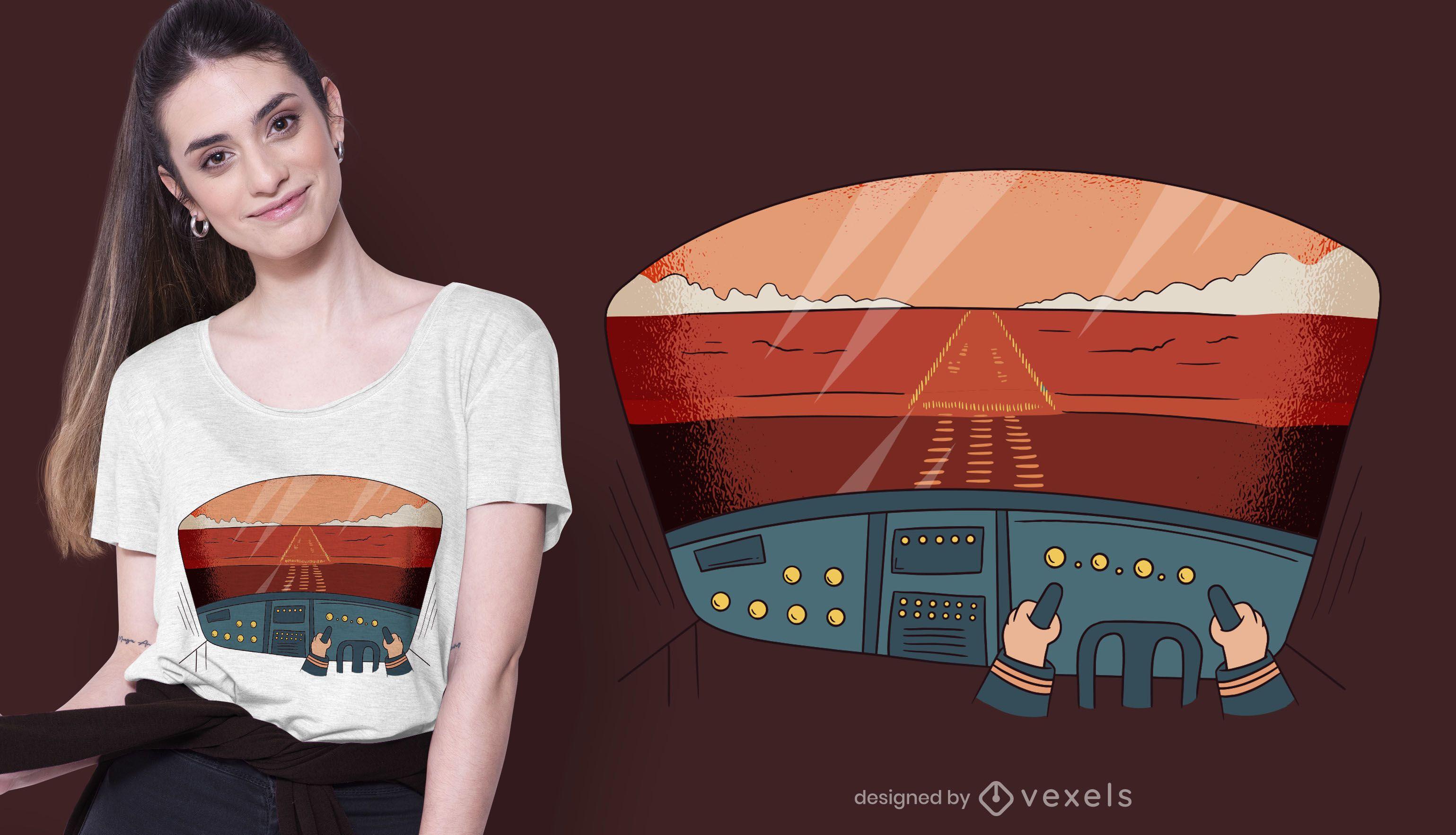 Dise?o de camiseta Pilot Cockpit View