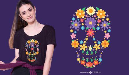 Design de camiseta com crânio de açúcar e flor