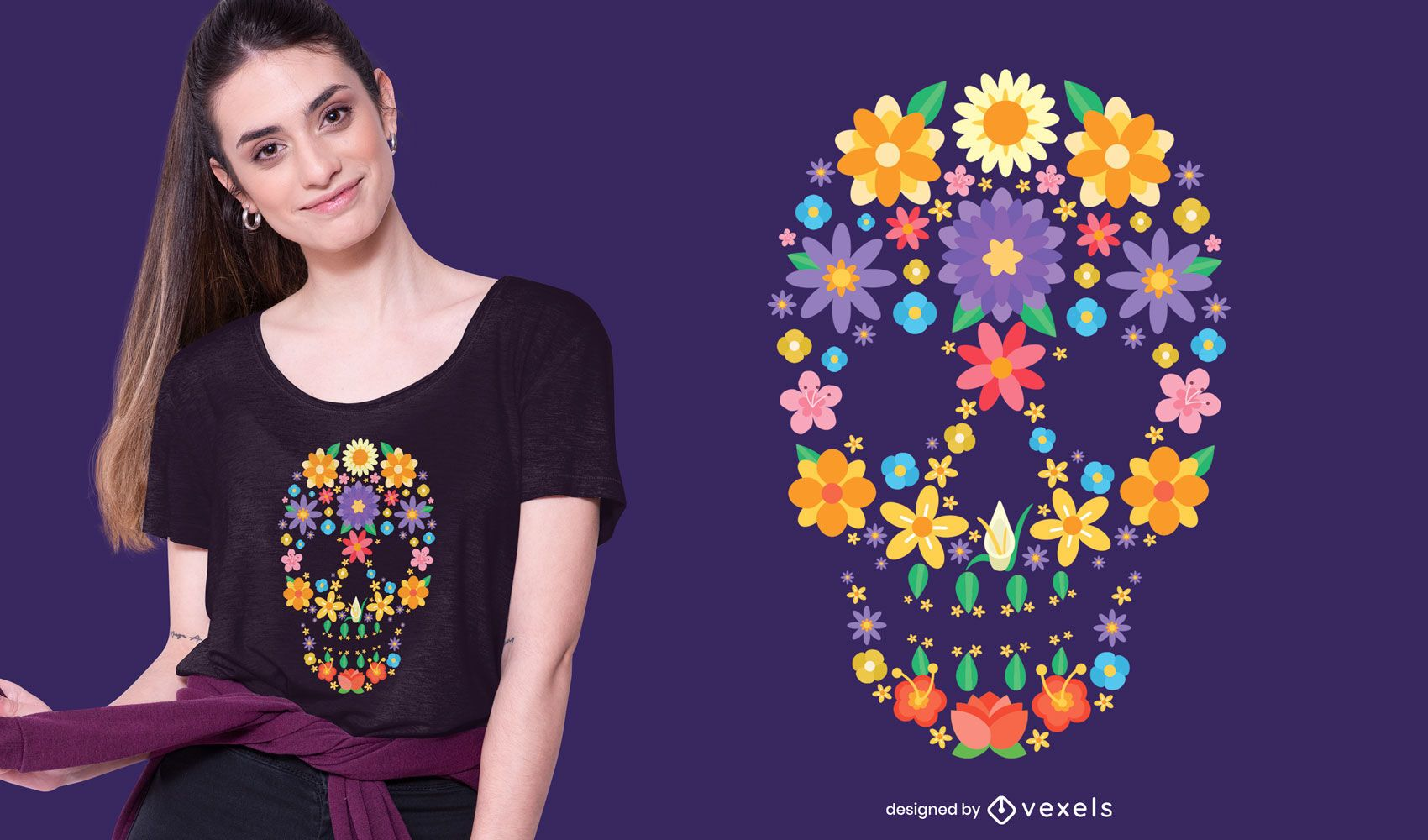 Flower Sugar Skull T-shirt Design