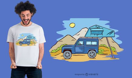 Design de camiseta para acampamento offroad