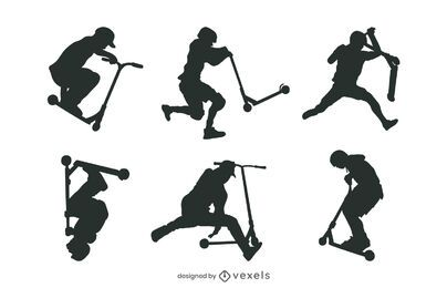 Pacote Trick Scooter People Silhouette