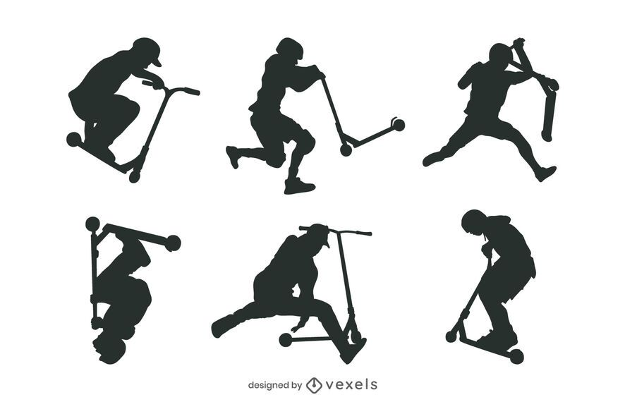 Paquete de silueta de personas de scooter de truco