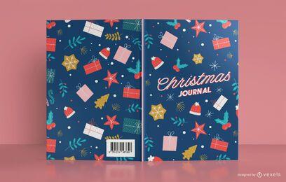 Diseño de portada de libro de diario de Navidad