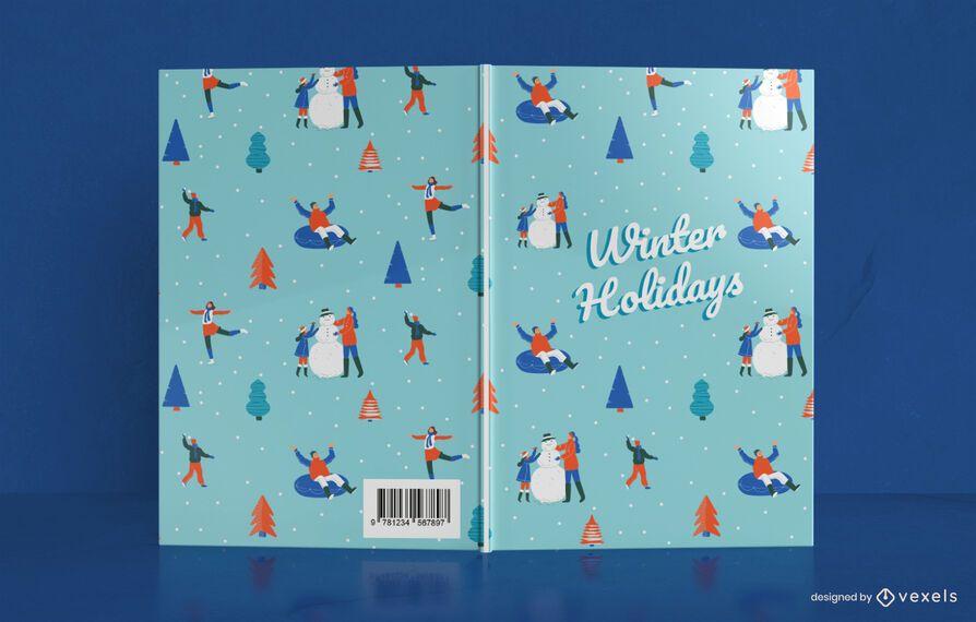 Diseño de portada de libro de vacaciones de invierno