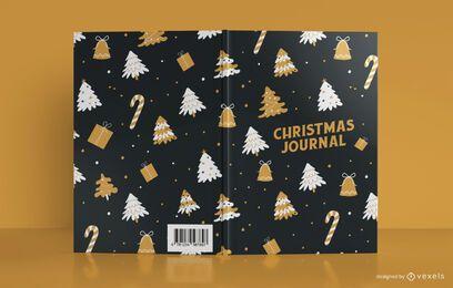 Diseño de portada de libro de diario de patrón de Navidad