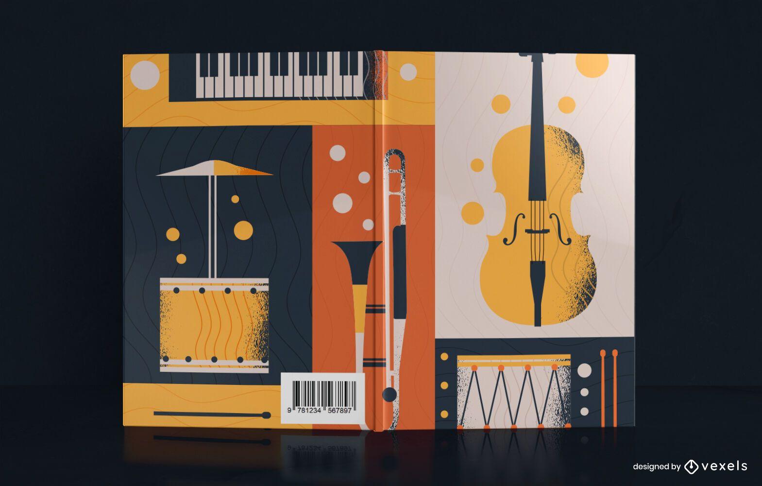Diseño de portada de libro de ilustración de música vintage