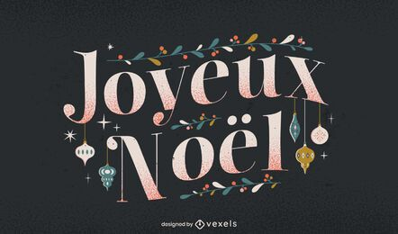 Feliz Natal, desenho de letras francesas