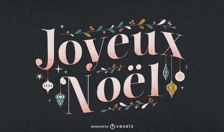 Frohe Weihnachten Französisch Schriftzug Design