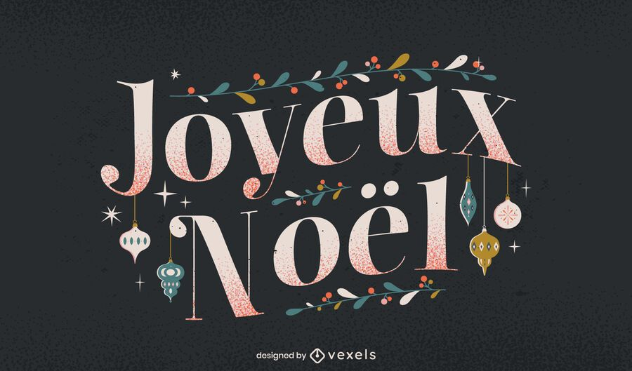 Merry Christmas french lettering design