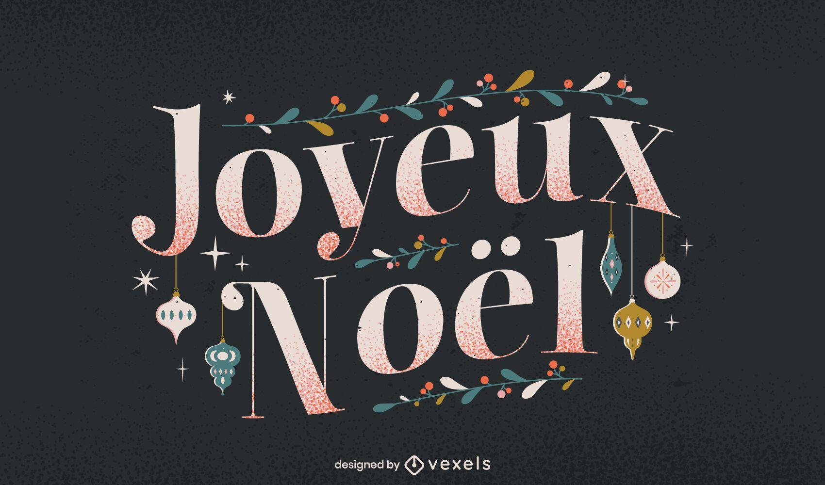 Feliz navidad diseño de letras francesas
