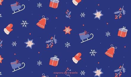 Christmas blue pattern design