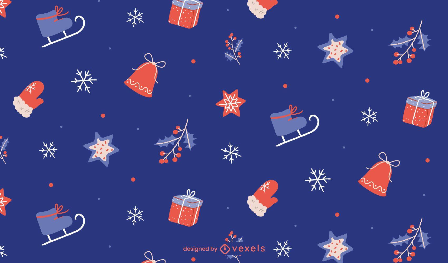 Diseño de patrón de Navidad azul