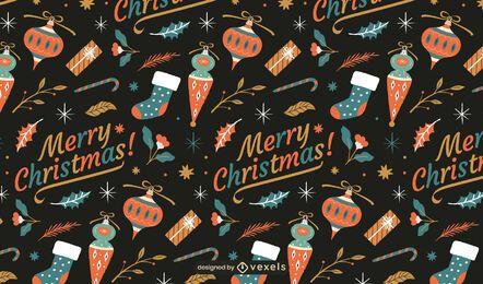 Patrón de adornos de feliz navidad