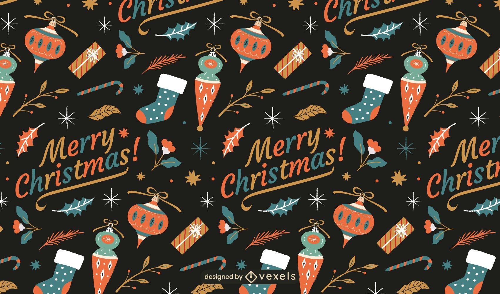 Merry christmas ornaments pattern