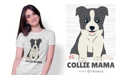 Design de camiseta de filhote de cachorro collie fofo
