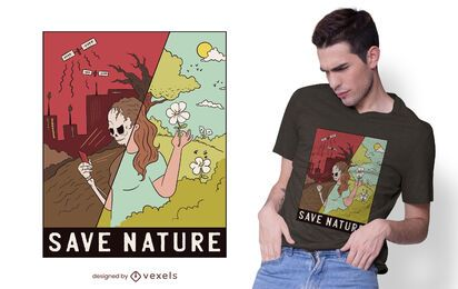 Diseño de camiseta Save Nature