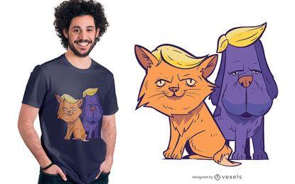 Design de camisetas Trump Cat and Dog