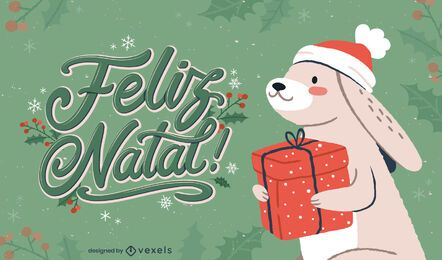 Christmas bunny portuguese lettering
