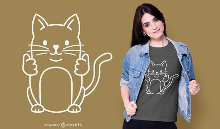 Diseño de camiseta Thumbs Up Cat