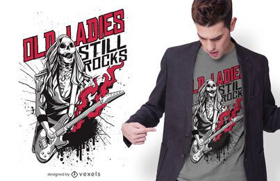 Design de camisetas Old Lady Zombie Rocker