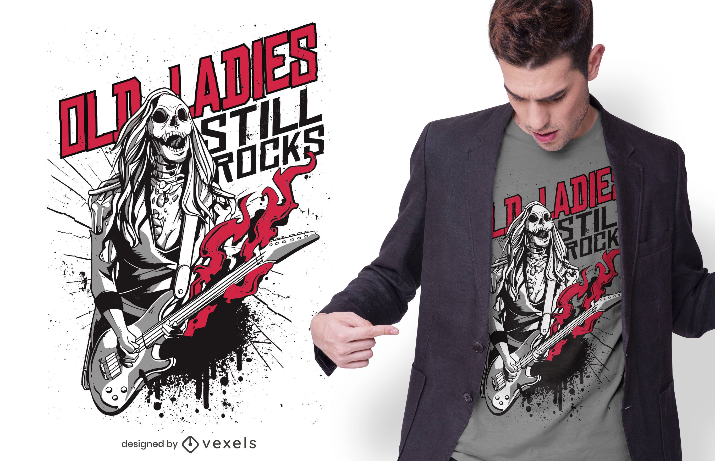 Old Lady Zombie Rocker T-shirt Design